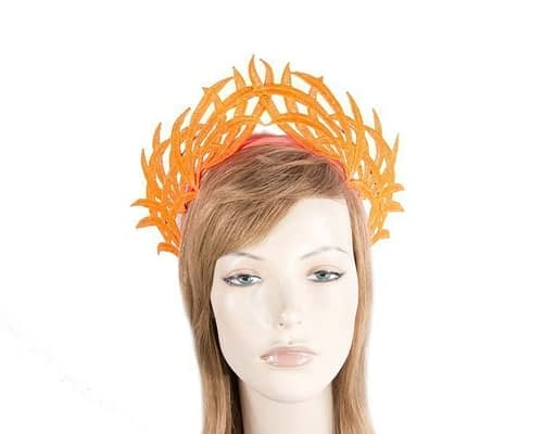 Fascinators Online - Orange lace crown 13