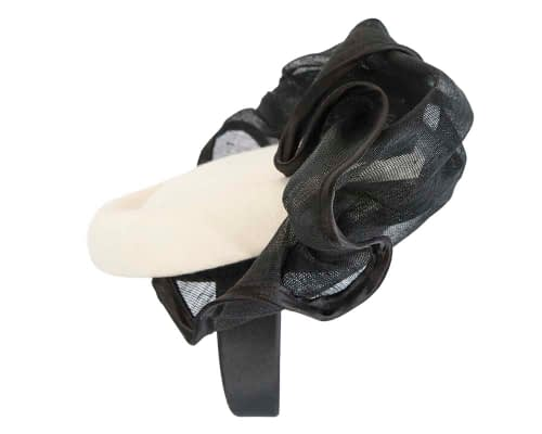 Fascinators Online - Exclusive cream & black winter fascinator by Fillies Collection 3