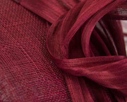Fascinators Online - Burgundy pillbox fascinator with silk bow by Fillies Collection 5