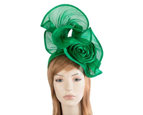 Fascinators Online - Green sculptured silk abaca fascinator by Fillies Collection 1