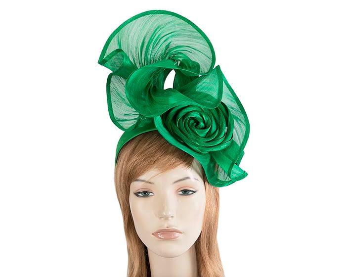 Fascinators Online - Green sculptured silk abaca fascinator by Fillies Collection 1