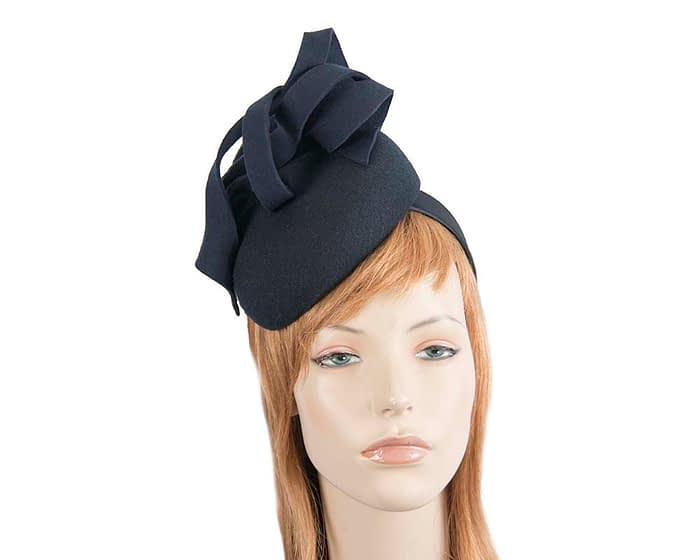 Fascinators Online - Unusual navy felt pillbox fascinator by Fillies Collection 1