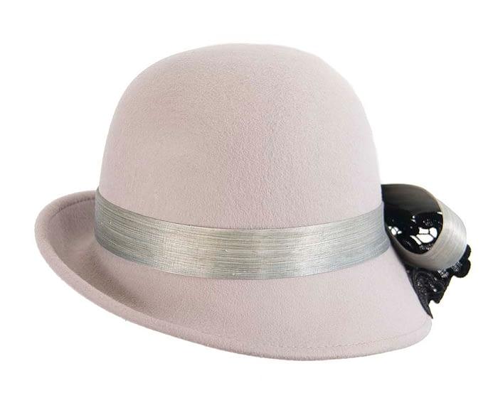 Fascinators Online - Grey autumn & winter fashion felt cloche hat by Fillies Collection 6