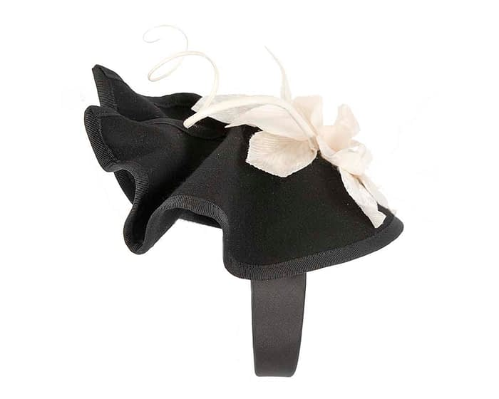 Fascinators Online - Black and Cream winter felt fascinator by Fillies Collection 4