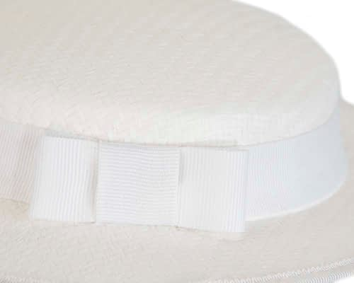 Fascinators Online - Small white boater fascinator hat by Max Alexander 6