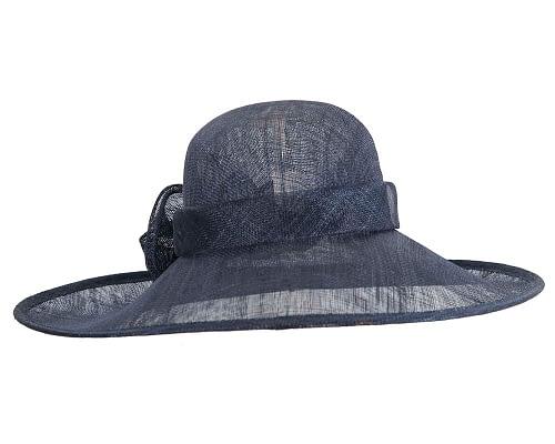 Fascinators Online - Wide brim navy sinamay racing hat by Max Alexander 6