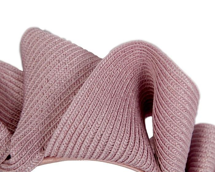 Fascinators Online - Dusty pink PU leather crown fascinator by Max Alexander 3