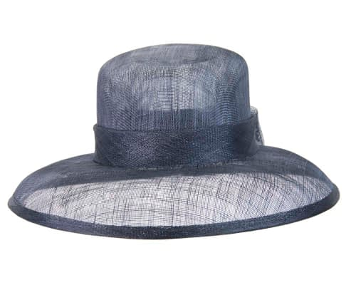 Fascinators Online - Navy sinamay hat by Max Alexander 2