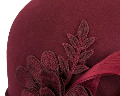 Fascinators Online - Exclusive burgundy felt cloche hat with lace by Fillies Collection 6