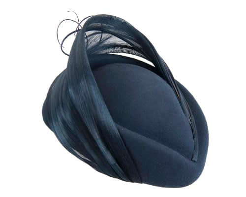 Fascinators Online - Navy felt ladies fashion beret hat with feather by Fillies Collection 3