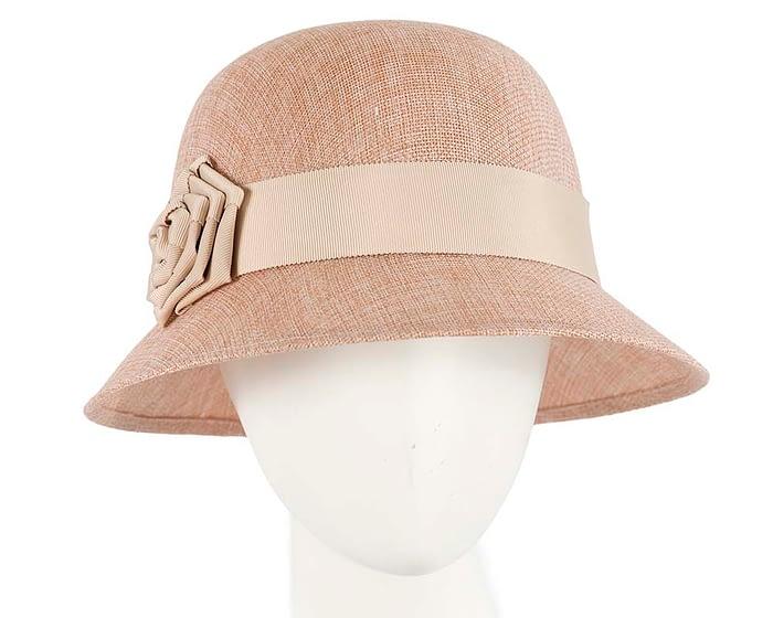 Fascinators Online - Nude spring racing bucket hat by Max Alexander 1