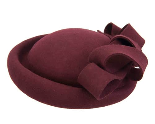 Fascinators Online - Large burgundy felt fascinator hat by Fillies Collection 6