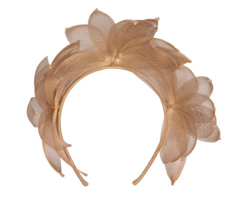 Fascinators Online - Gold crinoline crown racing fascinator by Max Alexander 4