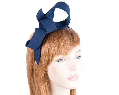 Fascinators Online - Navy felt bow winter racing fascinator 1
