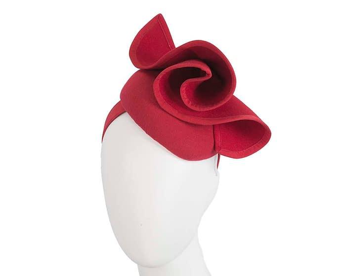 Fascinators Online - Red felt pillbox fascinator by Fillies Collection 1