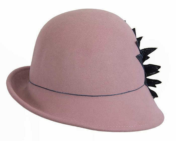 Fascinators Online - Dusty pink felt cloche hat with lace by Max Alexander 3
