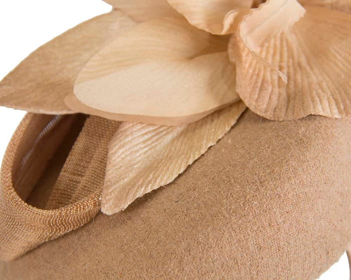 Fascinators Online - Tall beige felt pillbox with flower by Fillies Collection 4