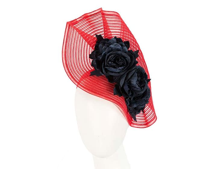 Fascinators Online - Large red racing fascinator with navy flowers by Fillies Collection 1