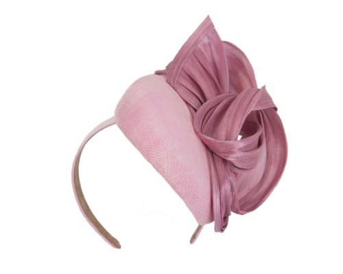 Fascinators Online - Dusty pink pillbox fascinator with silk bow by Fillies Collection 2
