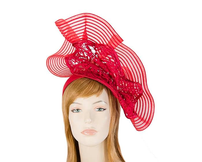 Fascinators Online - Large red racing fascinator with lace by Fillies Collection 1