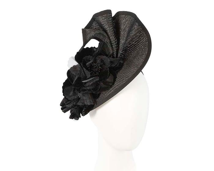 Fascinators Online - Bespoke large black flower fascinator by Fillies Collection 1