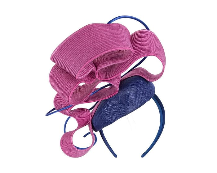 Fascinators Online - Designers royal blue & fuchsia racing fascinator by Fillies Collection 5