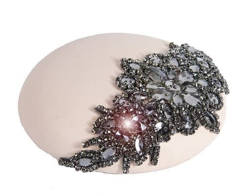 Fascinators Online - Beige leather pillbox with jewels 2