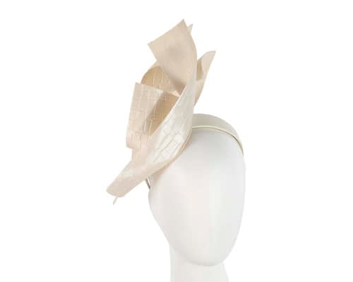 Fascinators Online - Bespoke cream leather racing fascinator 6