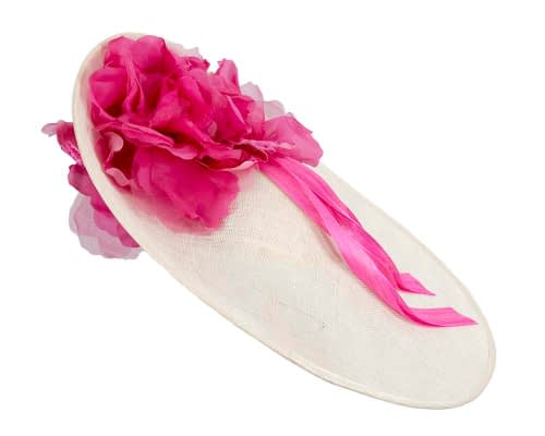 Fascinators Online - Large cream & fuchsia plate racing fascinator by Fillies Collection 4