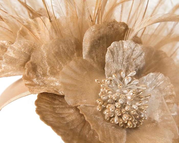 Fascinators Online - Gold flower & feathers racing fascinator 3