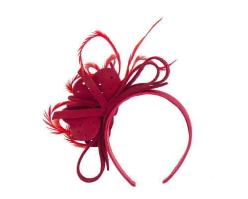 Fascinators Online - Red felt flower and feathers winter fascinator 4
