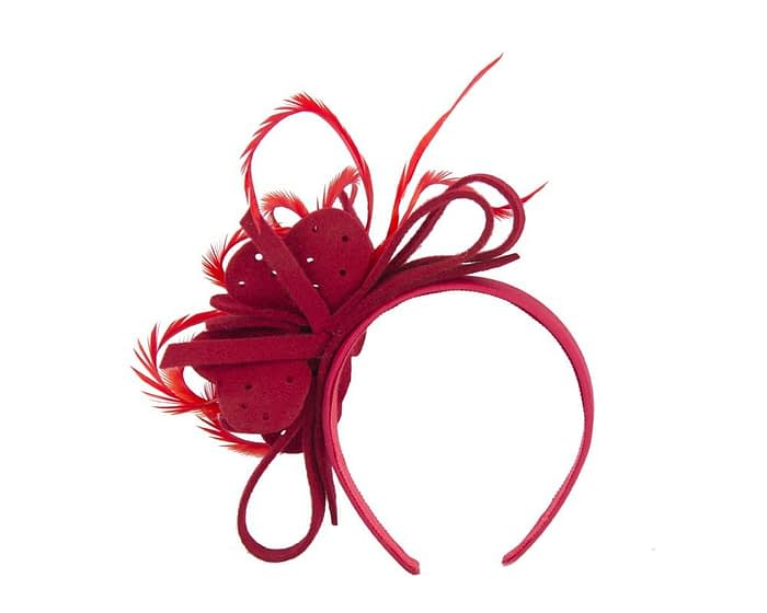 Fascinators Online - Red felt flower and feathers winter fascinator 4