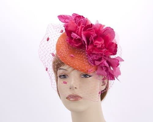 Orange fuchsia pillbox with face veil