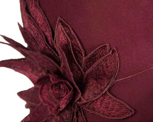 Fascinators Online - Burgundy felt cloche hat with lace by Max Alexander 5