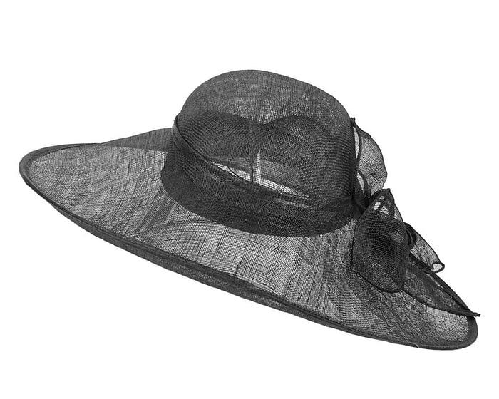 Fascinators Online - Large black fashion hat by Max Alexander 5