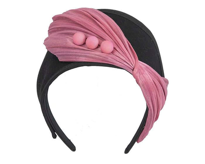 Fascinators Online - Black & Dusty Pink felt crown fascinator by Fillies Collection 2