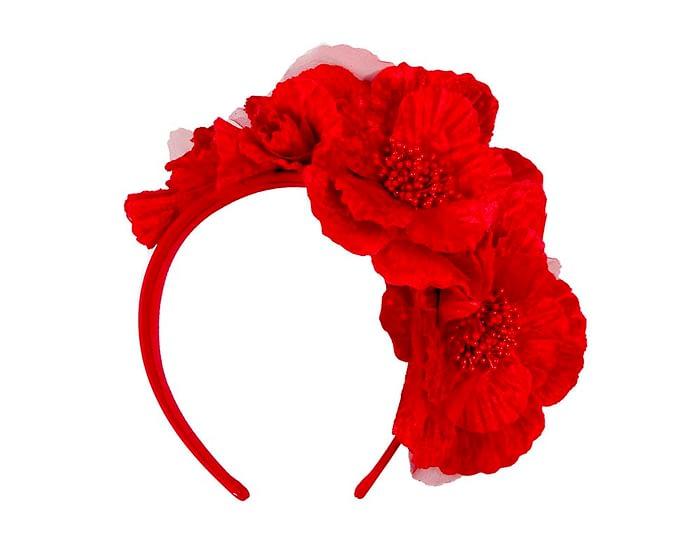 Fascinators Online - Bright red flowers on the headband 2