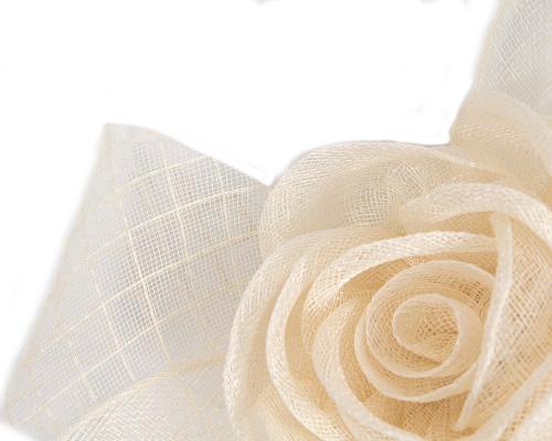 Fascinators Online - Large cream sinamay bow fascinator by Max Alexander 3
