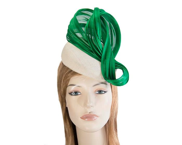 Fascinators Online - Cream pillbox with green bow by Fillies Collection 1