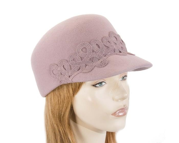 Fascinators Online - Dusty pink felt ladies cap with lace 1