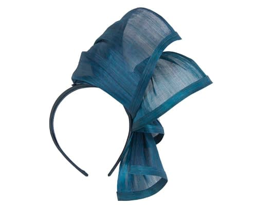 Fascinators Online - Marine blue twists of silk abaca fascinator by Fillies Collection 4
