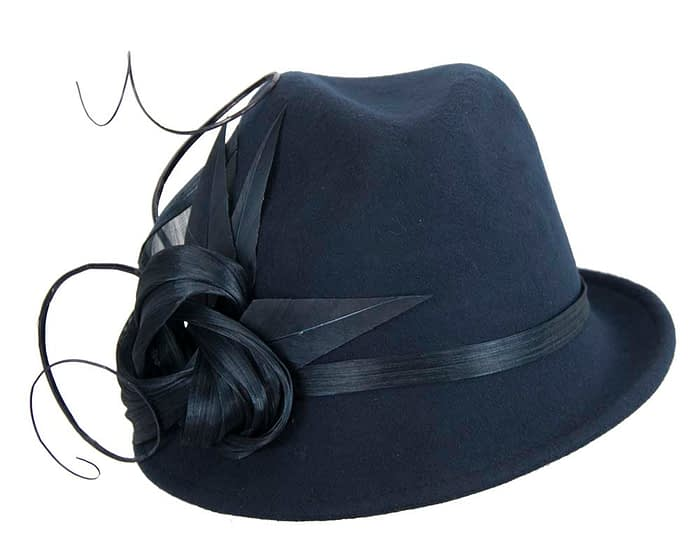 Fascinators Online - Exclusive navy felt trilby hat by Fillies Collection 4