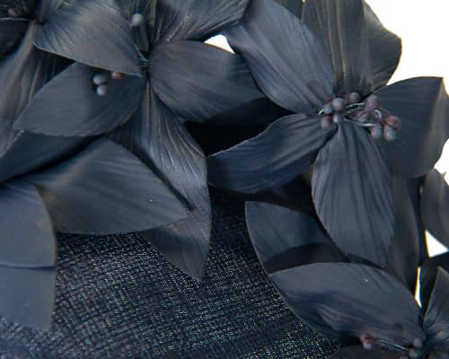 Fascinators Online - Navy leather flower pillbox fascinator by Fillies Collection 5