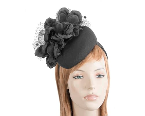 Fascinators Online - Black pillbox fascinator with flower by Fillies Collection 110