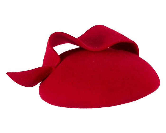 Fascinators Online - Red felt winter fashion pillbox fascinator by Max Alexander 4