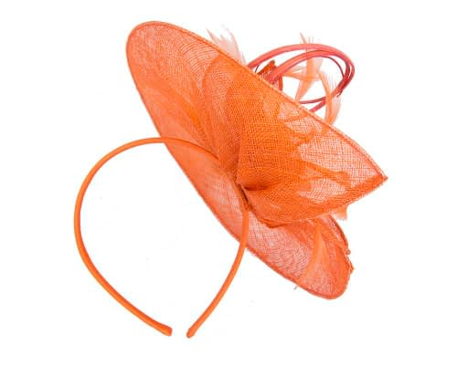 Fascinators Online - Large orange sinamay racing fascinator with feathers by Max Alexander 5