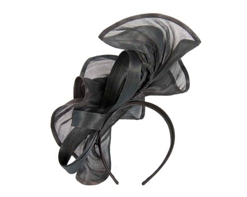Fascinators Online - Black sculptured silk abaca fascinator by Fillies Collection 3