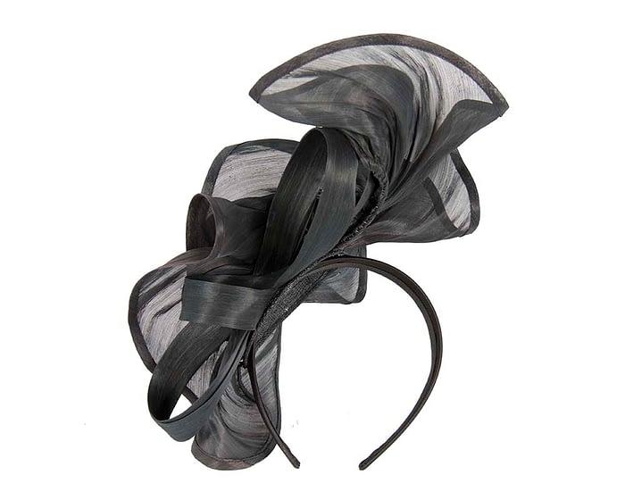 Fascinators Online - Black sculptured silk abaca fascinator by Fillies Collection 3
