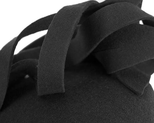 Fascinators Online - Unusual black felt pillbox fascinator by Fillies Collection 5