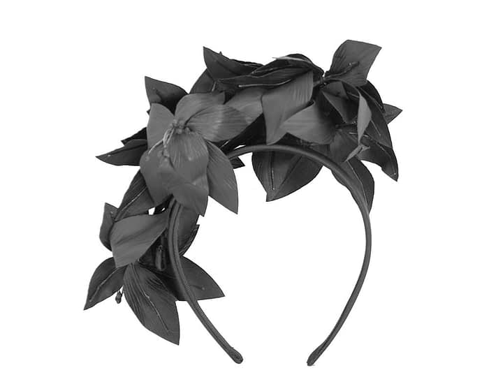 Fascinators Online - Black leather flower headband by Fillies Collection 4